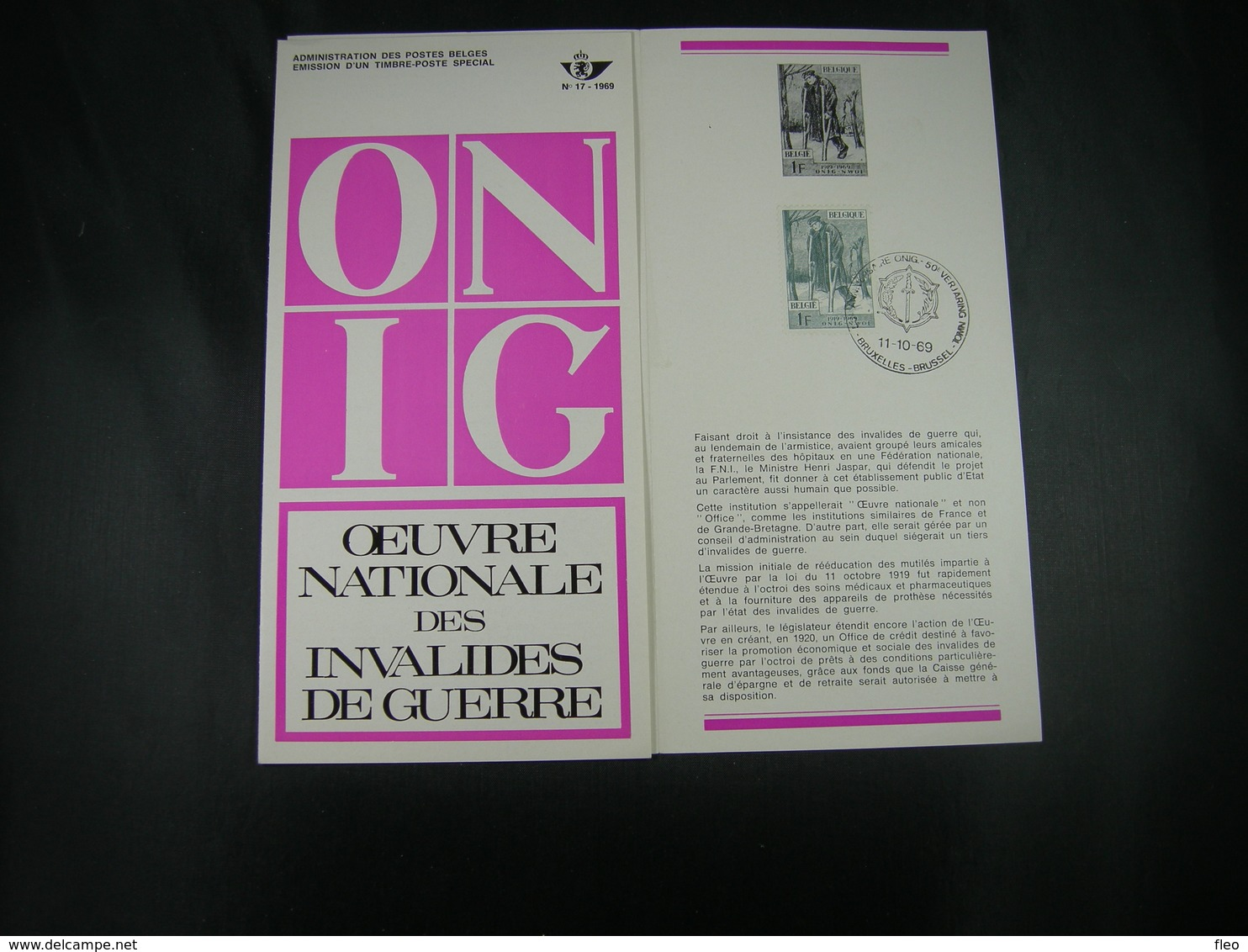 "BELG.1969 1510 FDC Folder FR (Brux) : "" INVALIDES DE GUERRE "" - 1961-70"