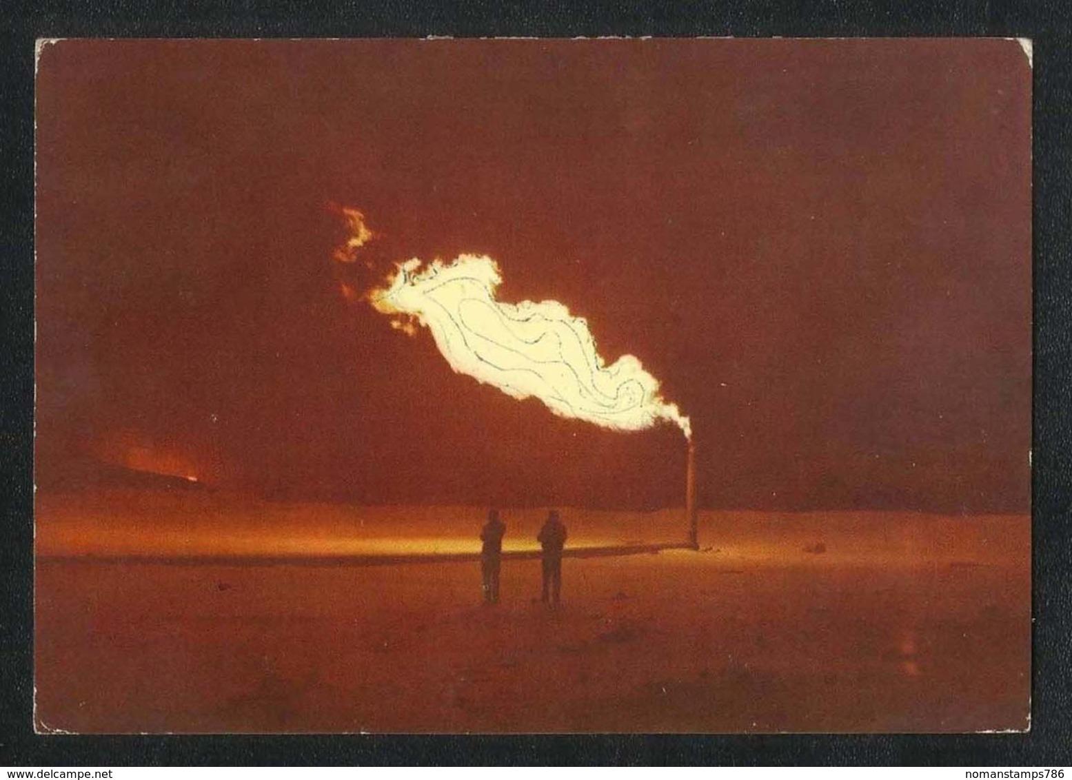 Qatar Picture Postcard Gas Flare In The Oil Field Qatar View Card - Qatar