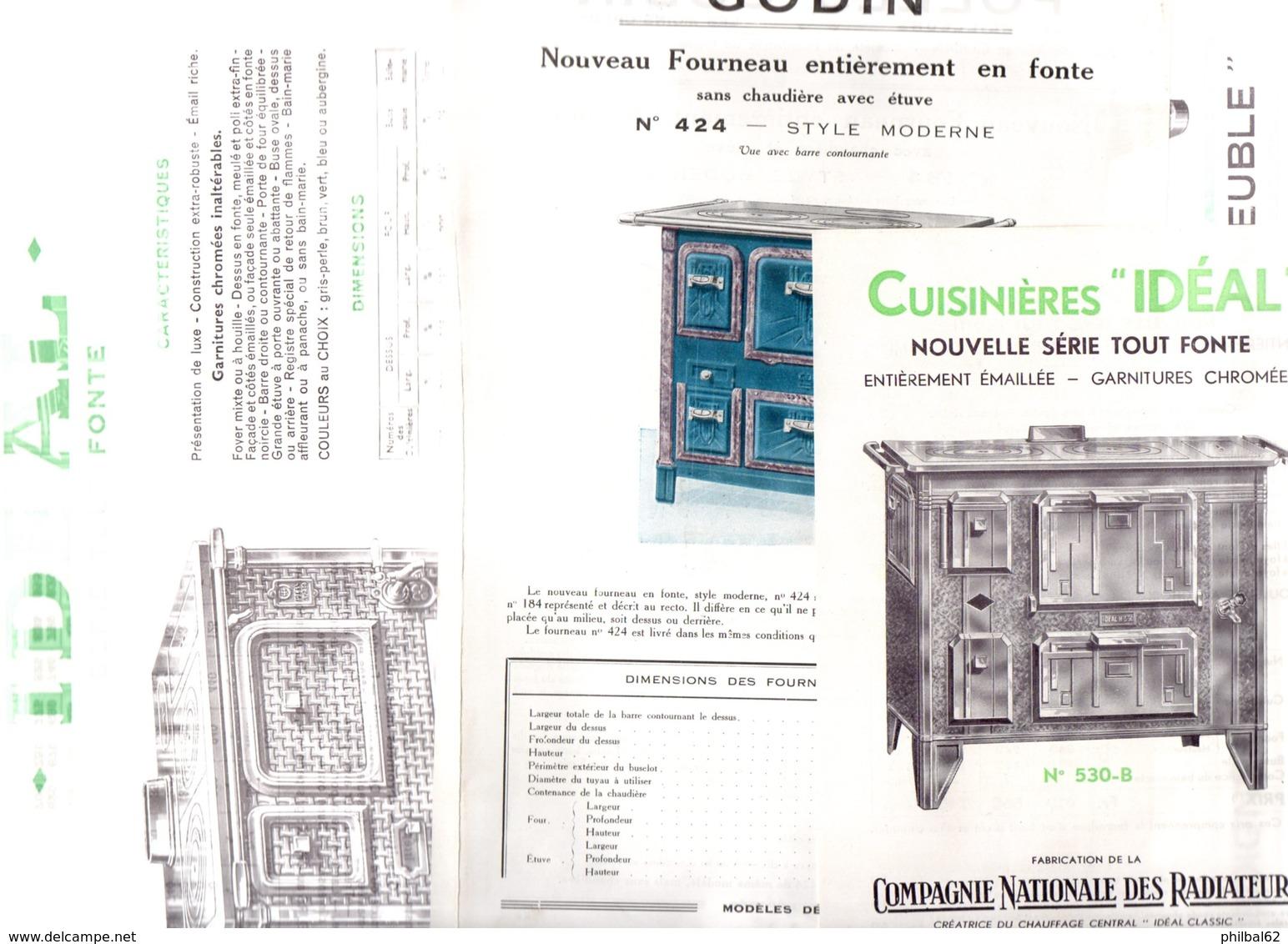 6 Feuillets Publicitaires, Cuisinière Et Poêles. Arthur-Martin, Godin, FAC, Idéal. - France