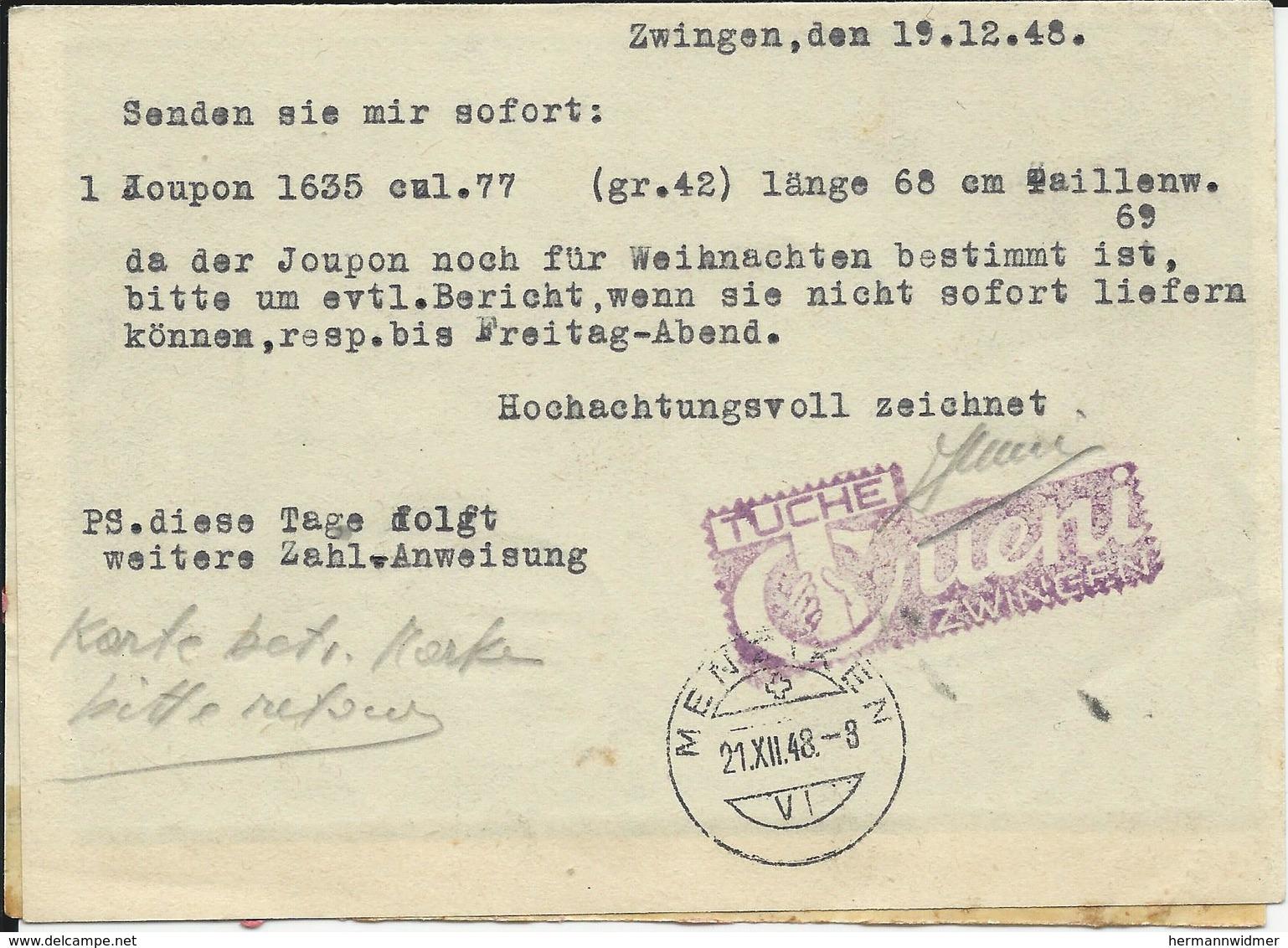 WI 126, 127, 128 (2x), Fleurs Des Alpes, Obl. Zwingen 20.XII.48, Carte Commande, Raison Sociale Tuche Cueni - Briefe U. Dokumente