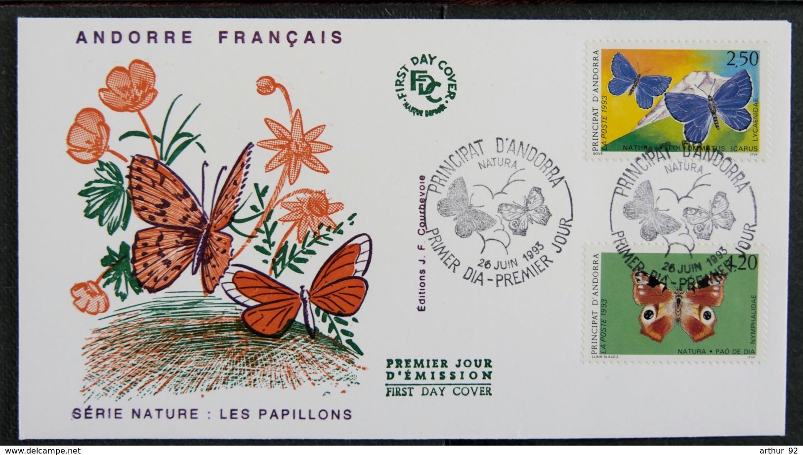 ANDORRE FRANCAIS - 1993 - FDC NATURA - LES PAPILLONS - French Andorra