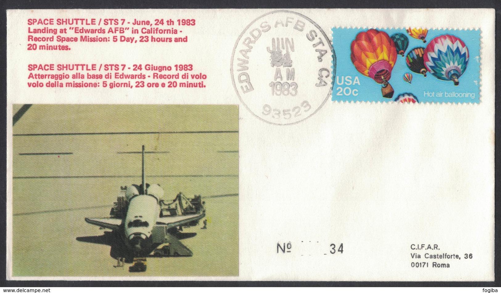 YN174  Commemorative Envelope USA 1983 ( Edwards ) - (STS-7) Landing Challenger Space Shuttle - Stati Uniti