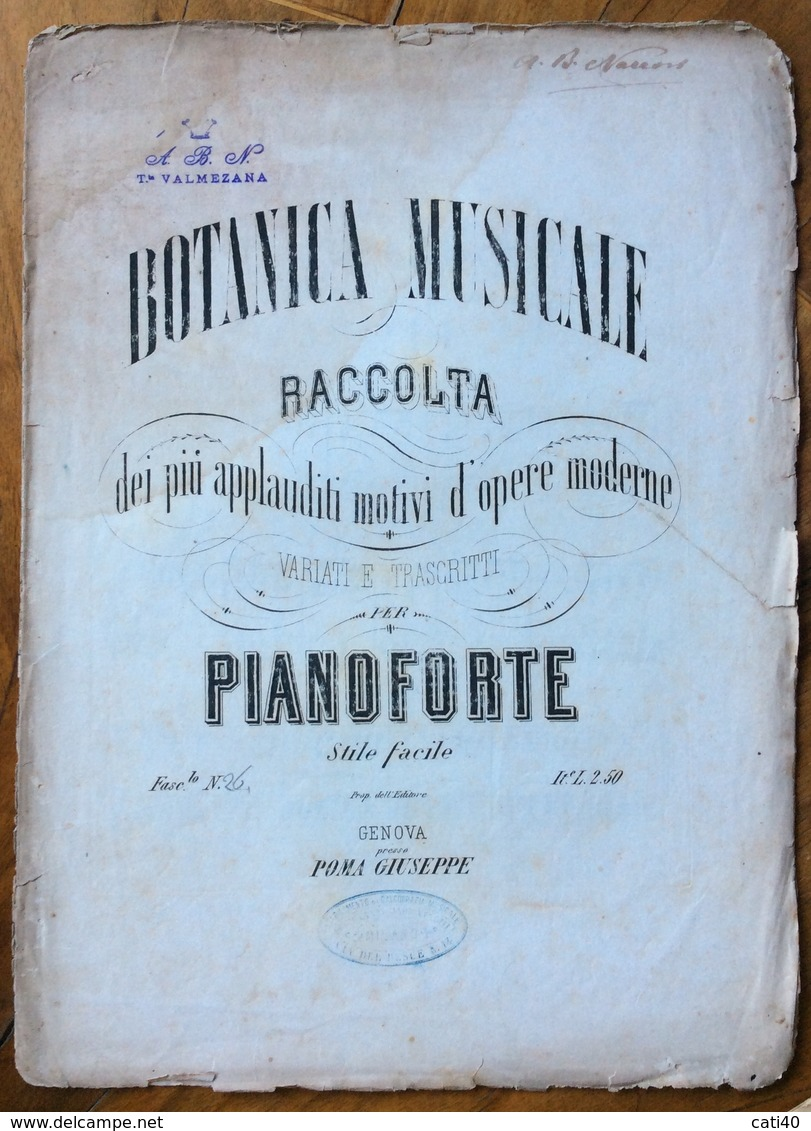 SPARTITO MUSICALE VINTAGE  BOTANICA MUSICALE  RACCOLTA PER PIANOFORTE EDITORE POMA GIUSEPPE GENOVA - Musica Popolare