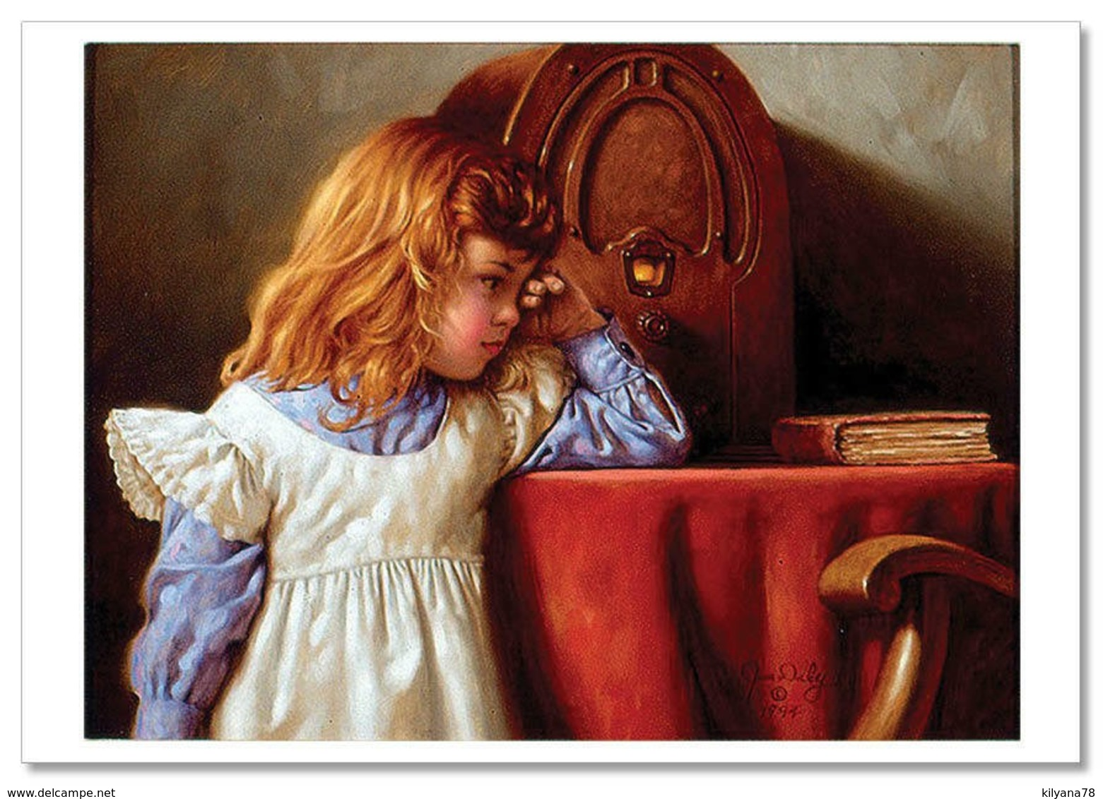 JIM DALY KIDS ~ LITTLE GIRL & BOOK Old Radio Table Tales  Art Modern Postcard - Children