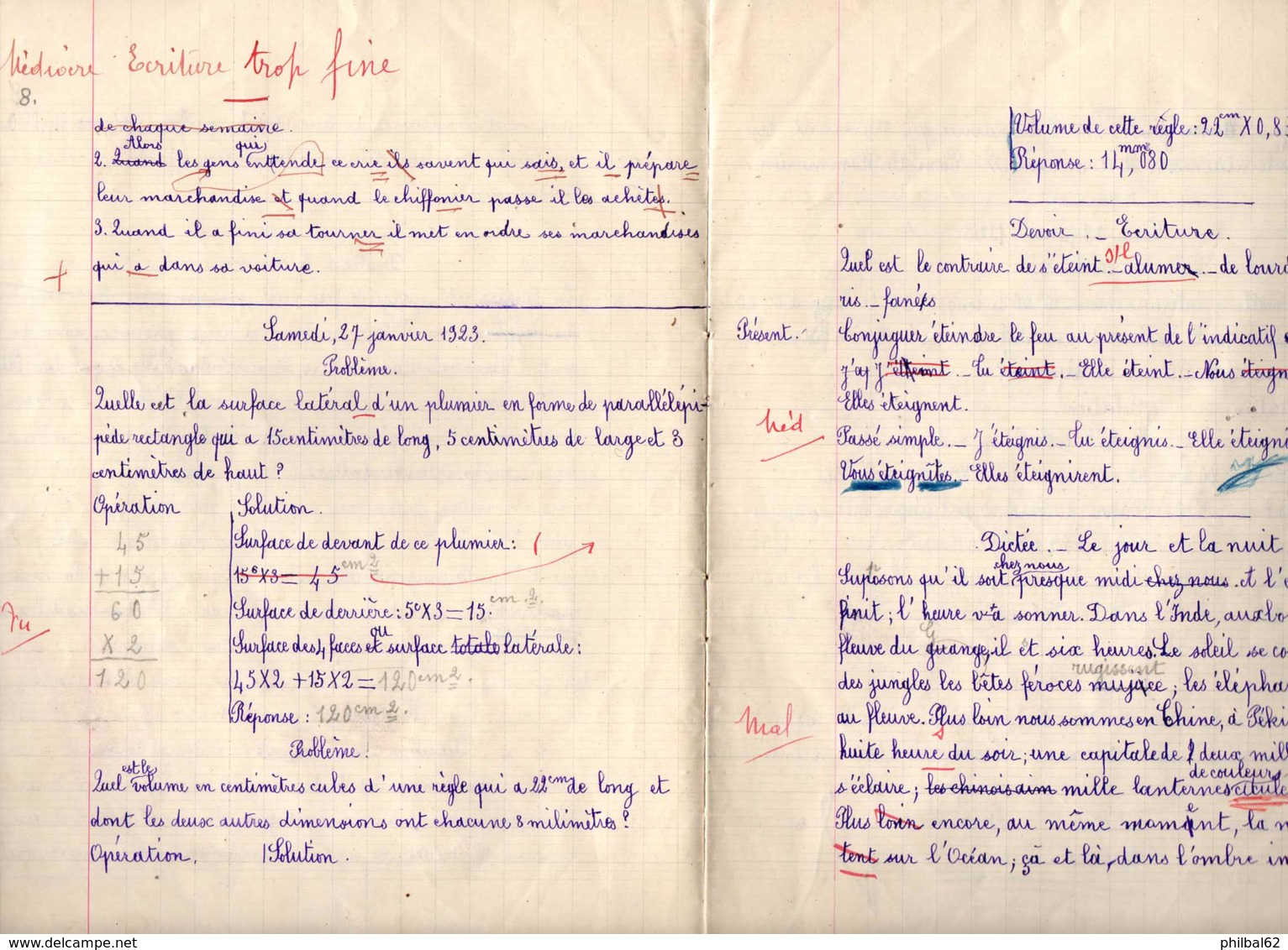 Cahier De Devoirs D'écolier Octobre 1935 à Février 1936. - Diploma & School Reports