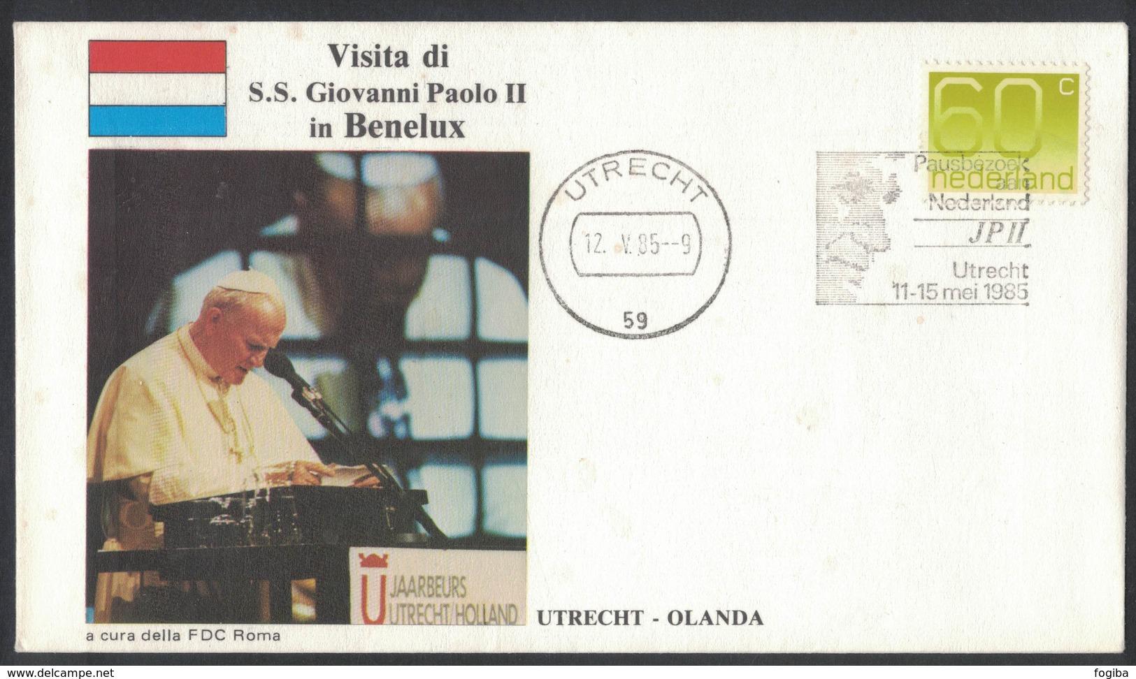 YN183     Nederland 1985 Visita Di S.S. Giovanni Paolo II  In Benelux - Utrecht  FDC Roma - Papi