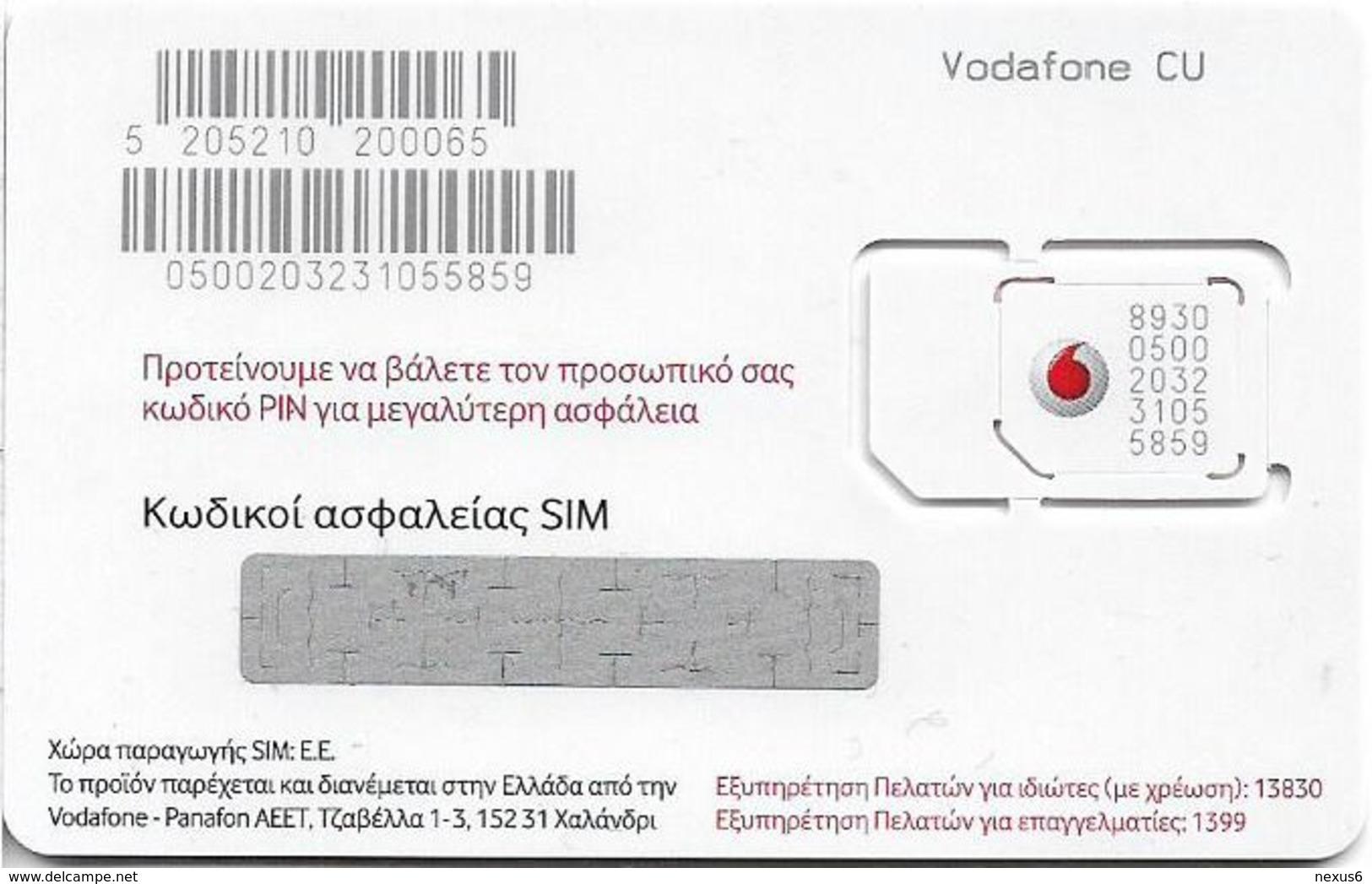 Greece - Vodafone (Red & White 'Vodafone CU') GSM SIM, Mint - Greece