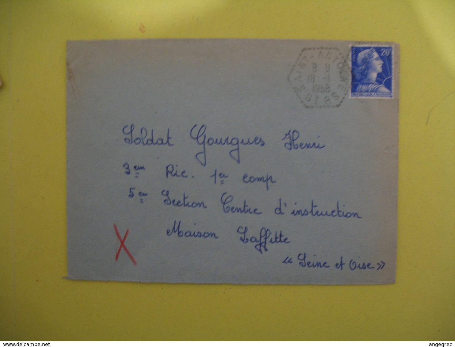 Lettre Cachet   Poste Rurale   Saint Antoine   1958   Gers - France