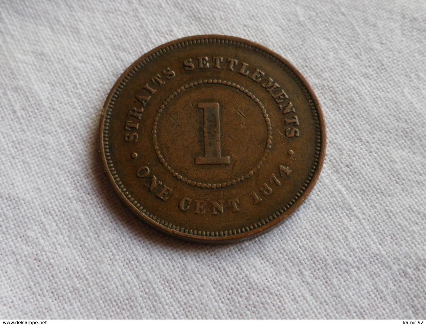Malaysie Straits Settlements  1 Cent  1874 H Heaton  Km#9 Bronze Victoria  TB à TTB - Malaysie