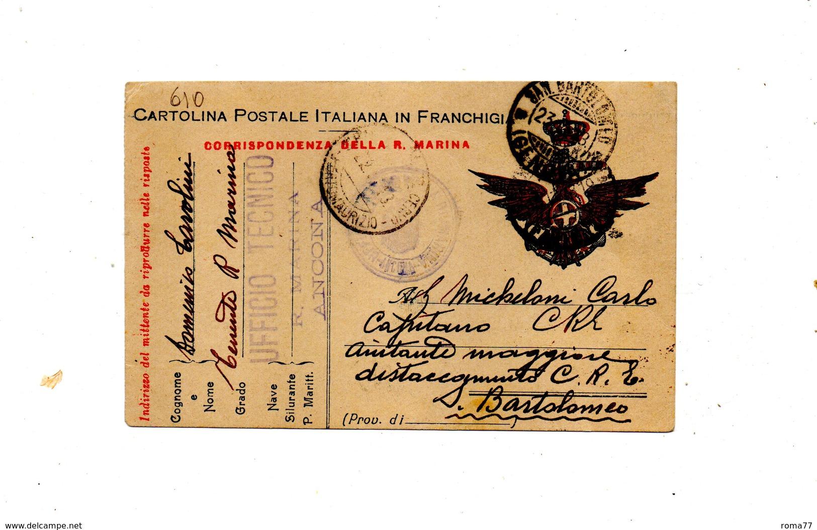 "LAB610- REGNO 1918 , Cartolina Postale Franchigia "" Corrispondenza R. Marina "". - 1900-44 Vittorio Emanuele III"