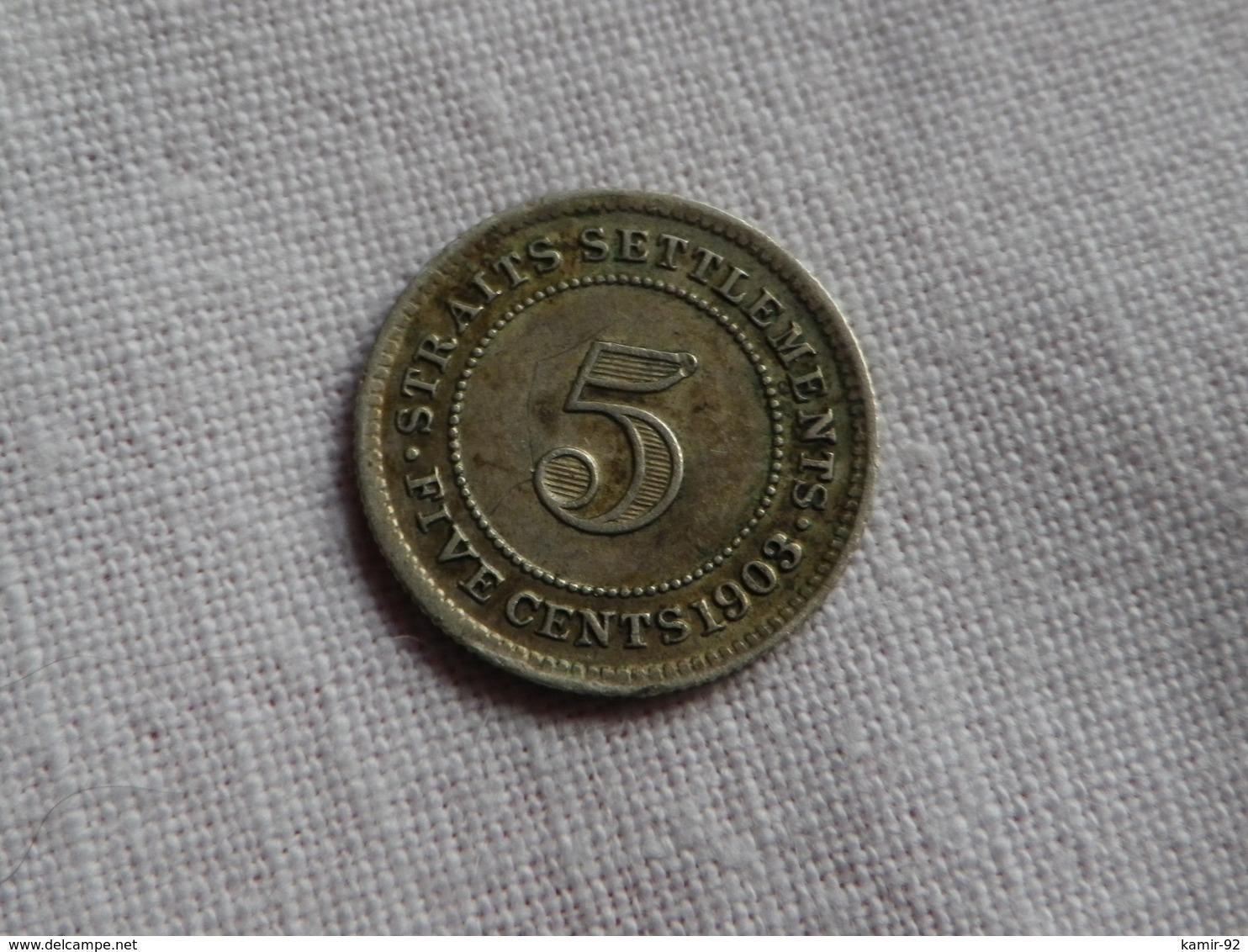 Malaysie Straits Settlements  5 Cents  1903 Edward VII    Km#20  Argent 0.800 - Malaysie