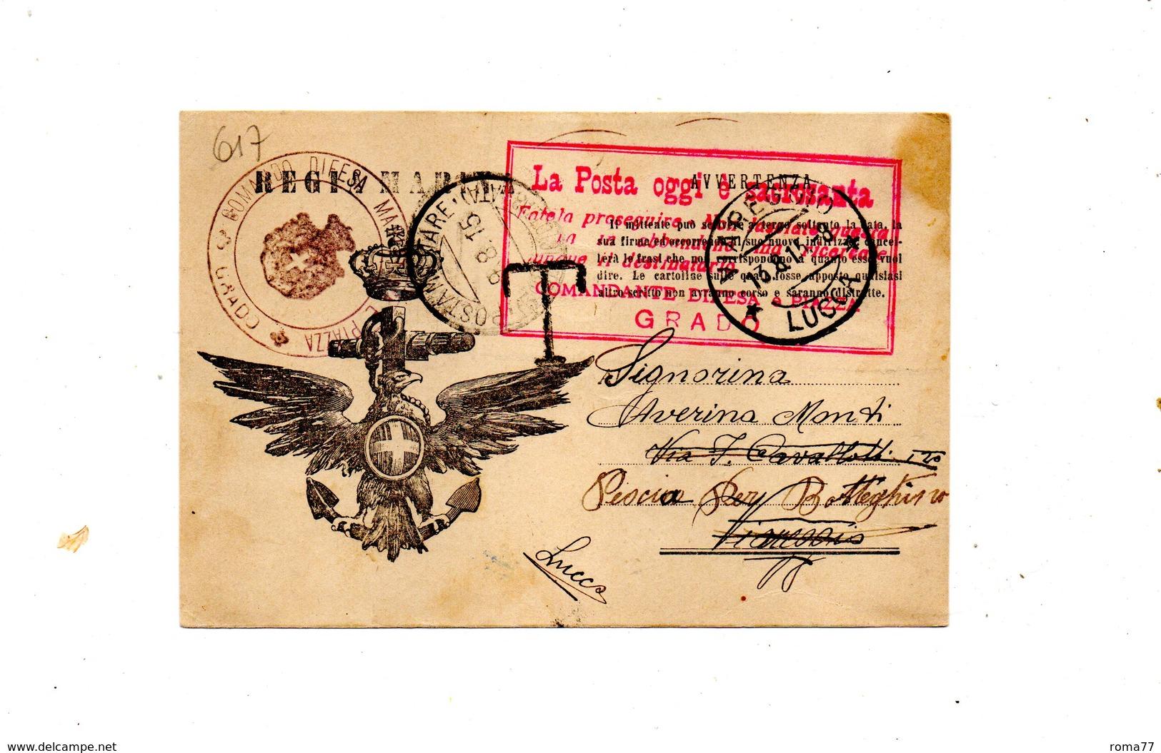 "LAB617- REGNO 1915 , Cartolina Postale R. Marina In Franchigia "" Comando Difesa Grado "". - 1900-44 Vittorio Emanuele III"