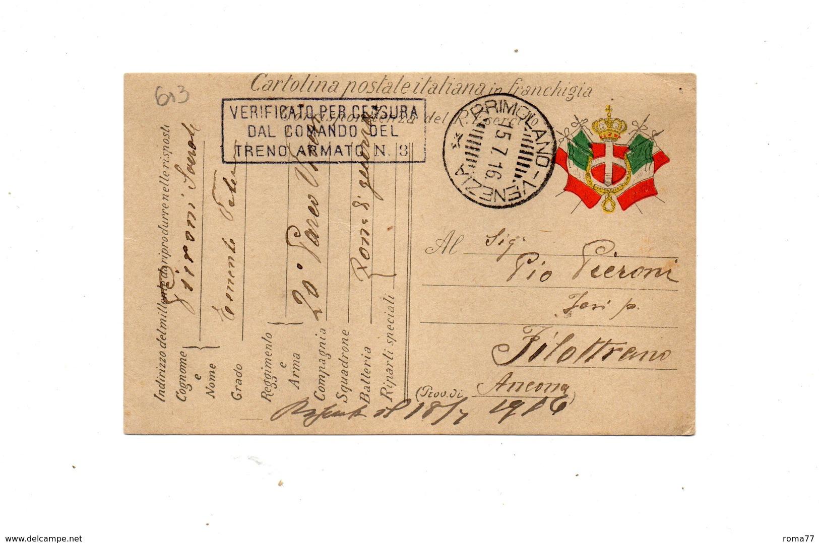 """LAB613- REGNO 1916 , Cartolina Postale Franchigia """" Comando Del Treno Armato """". - 1900-44 Vittorio Emanuele III"""