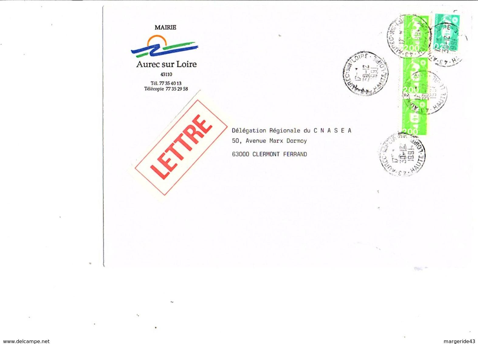 LETTRE DE MAIRIE DE AUREC-SUR-LOIRE HAUTE LOIRE - Marcophilie (Lettres)
