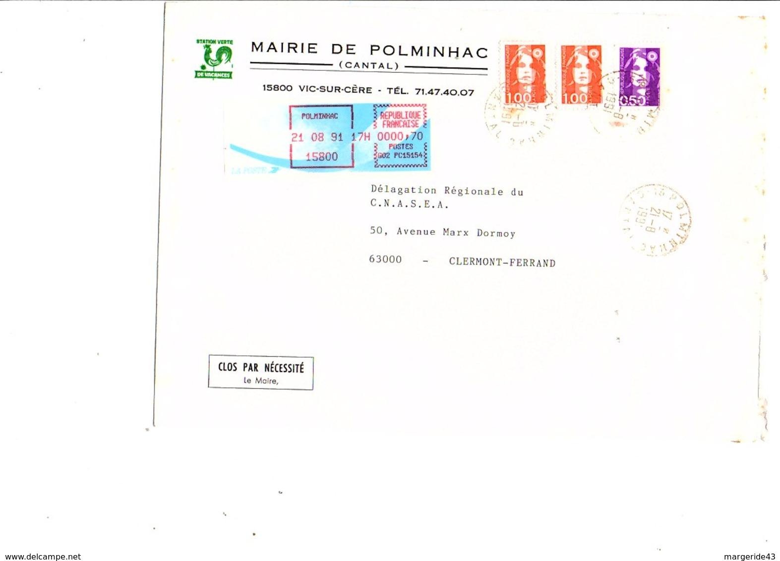 LETTRE DE MAIRIE DE POLMINHAC CANTAL - Marcophilie (Lettres)