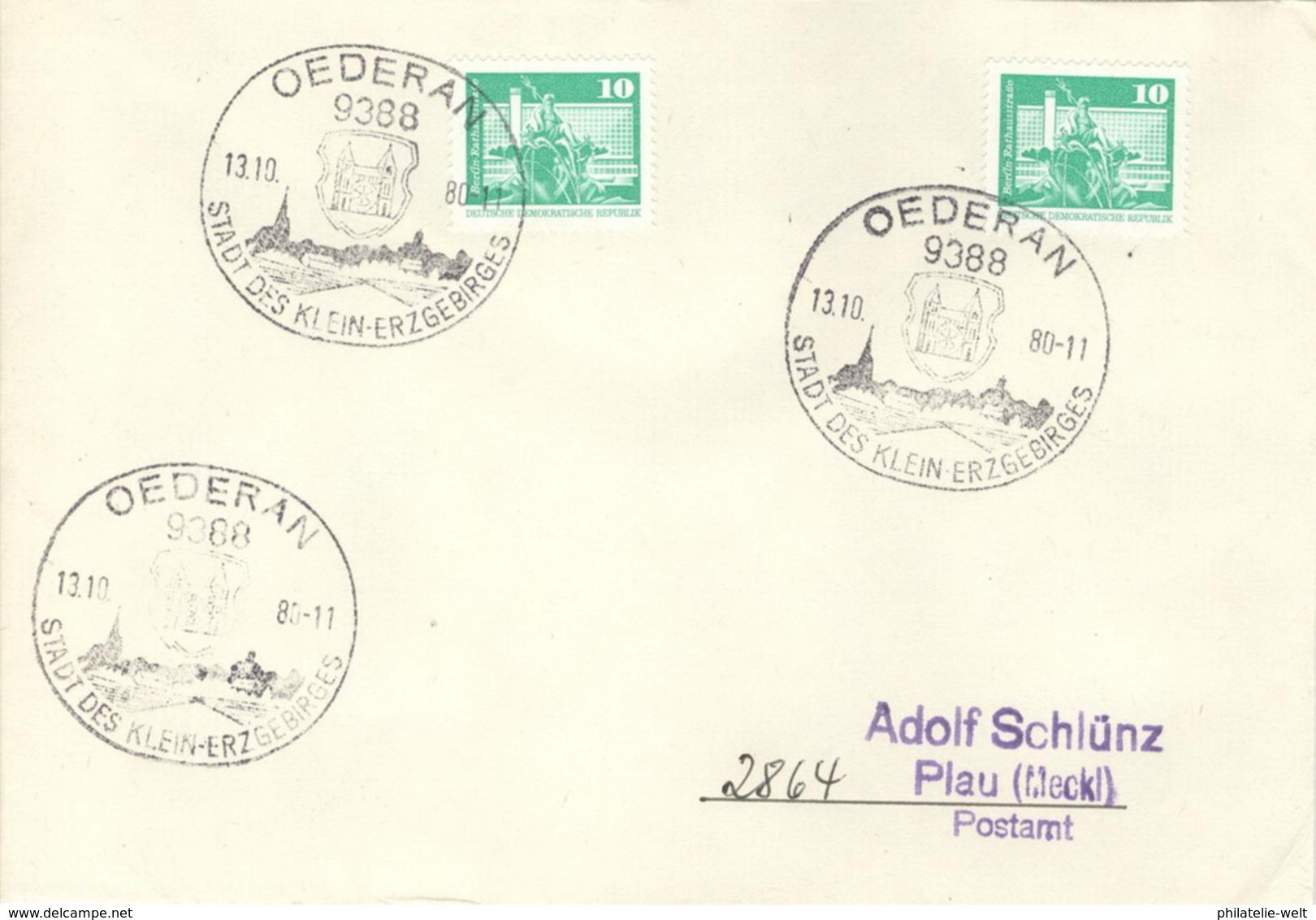 DDR Beleg Mit Sonderstempel Oederan Stadt Des Klein-Erzgebirges 1980 - [6] République Démocratique
