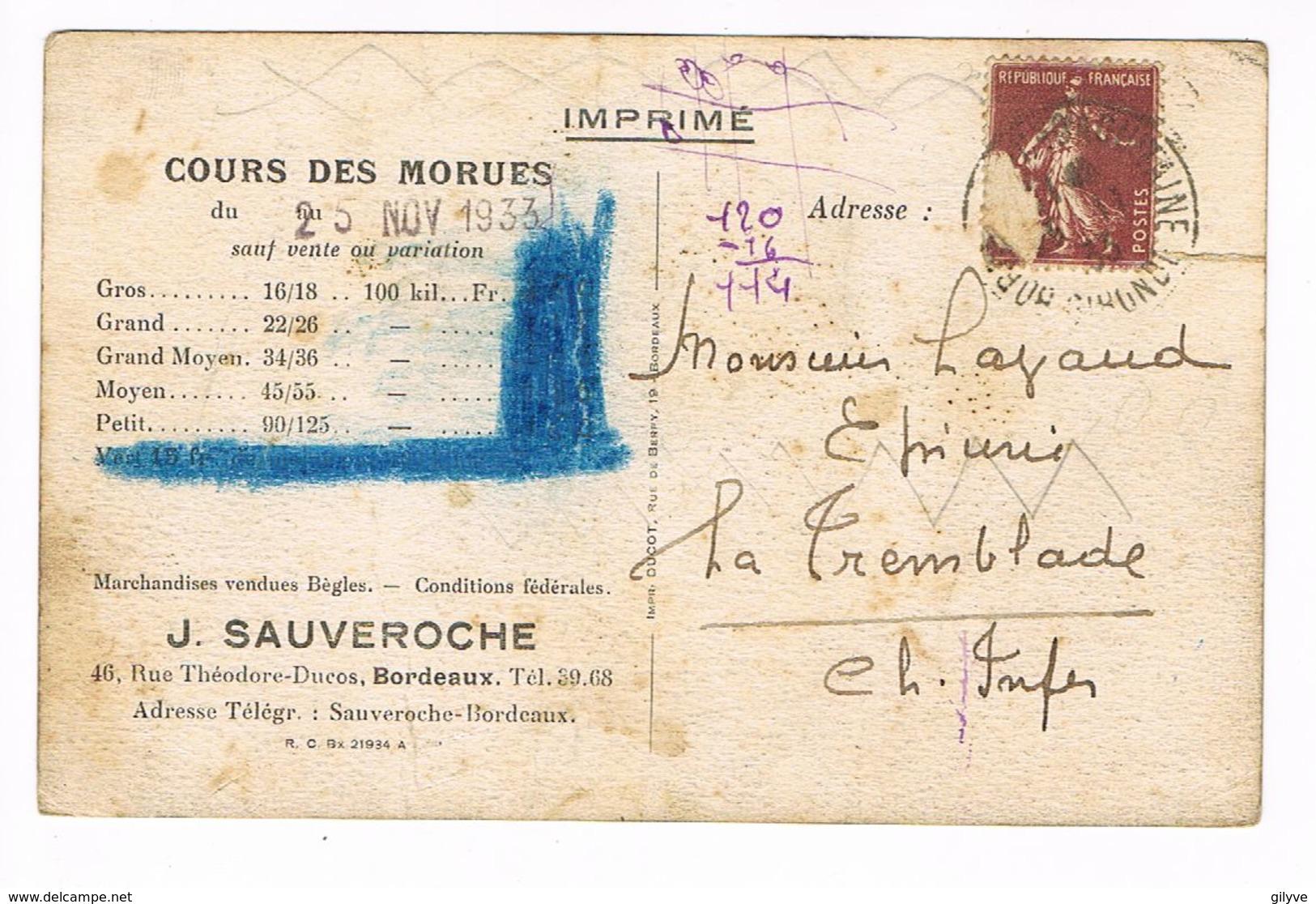 CPA (33) Bordeaux.Sécherie De Morues. Tranchage Des Morues J.Sauveroche. (F.005) - Bordeaux