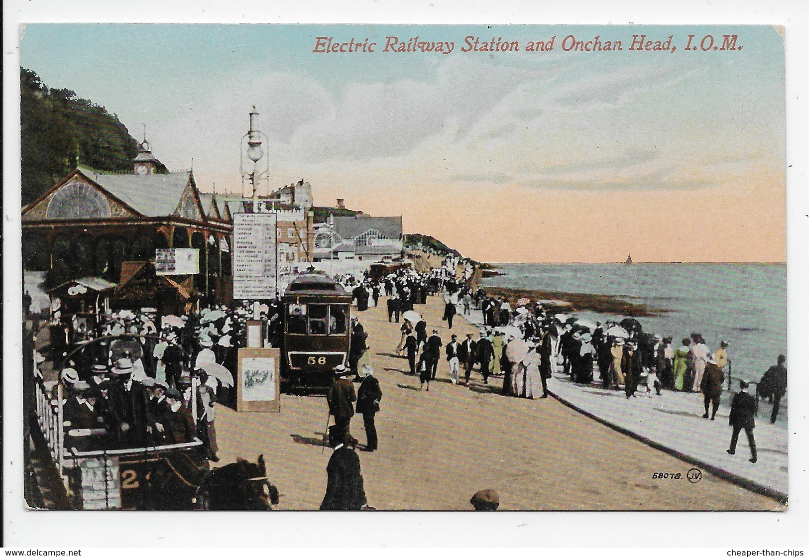 Electric Railway Station And Onchan Head - Valentine 58078? - Isle Of Man