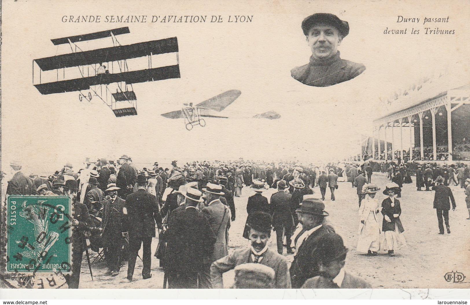 69 - LYON - Grande Semaine D' Aviation  De Lyon - Duray Passant Devant Les Tribunes - Autres