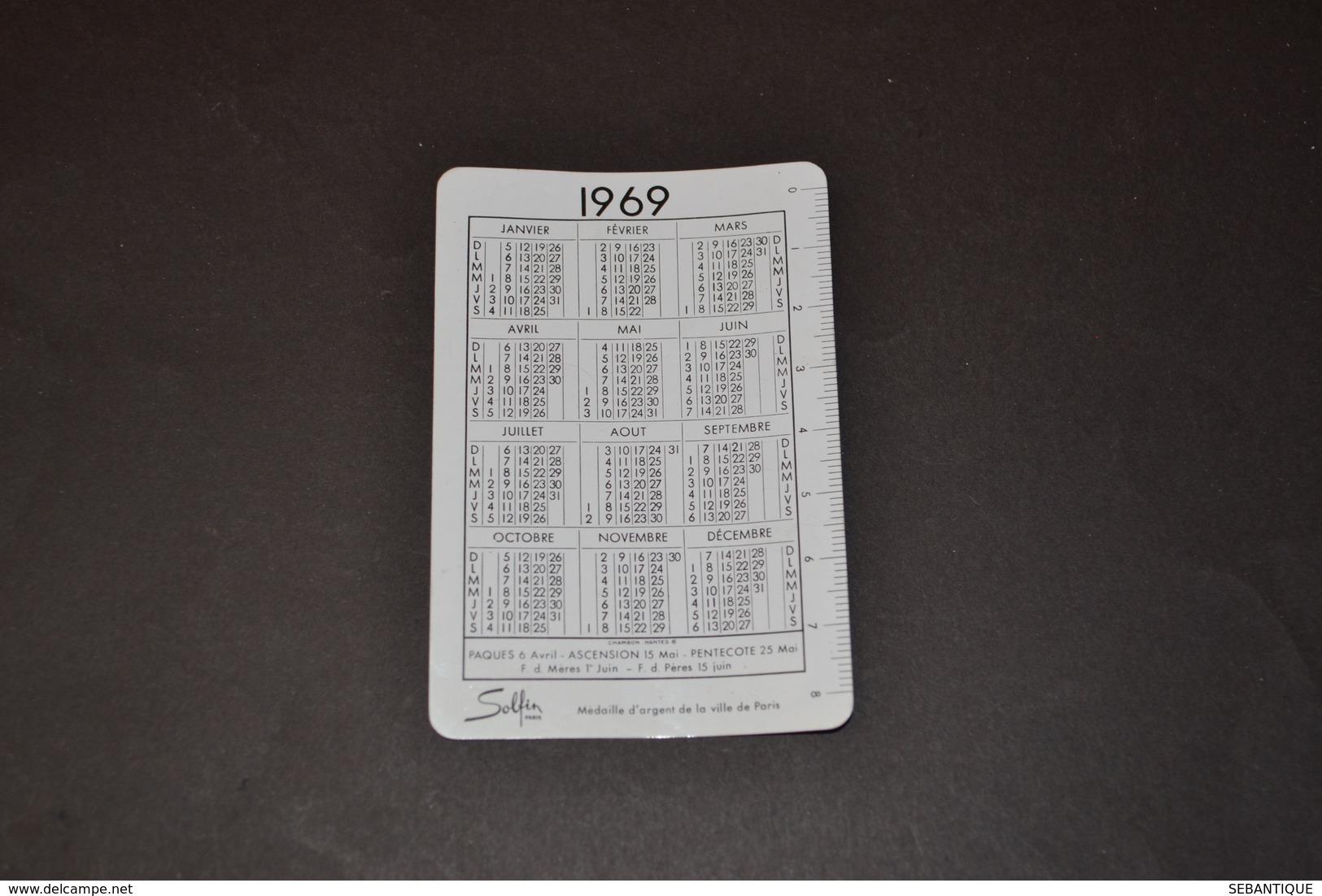 Mini Calendrier 1969 Métallique SOLFIN Coupe D'or Du Bon Gout Français - Petit Format : 1961-70