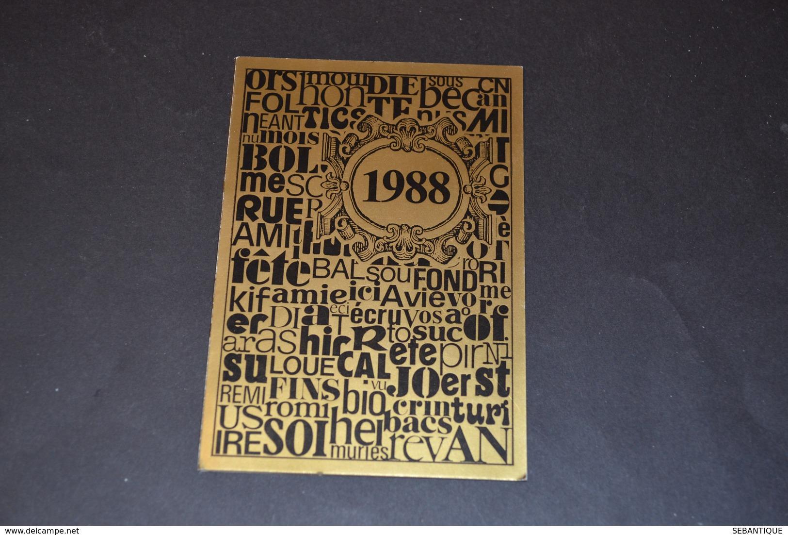 Mini Calendrier 1988 Doré Librairie SALIBA - Calendriers