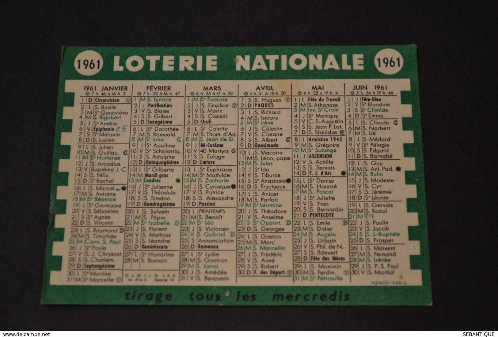 Mini Calendrier 1961 LOTERIE NATIONALE - Petit Format : 1961-70