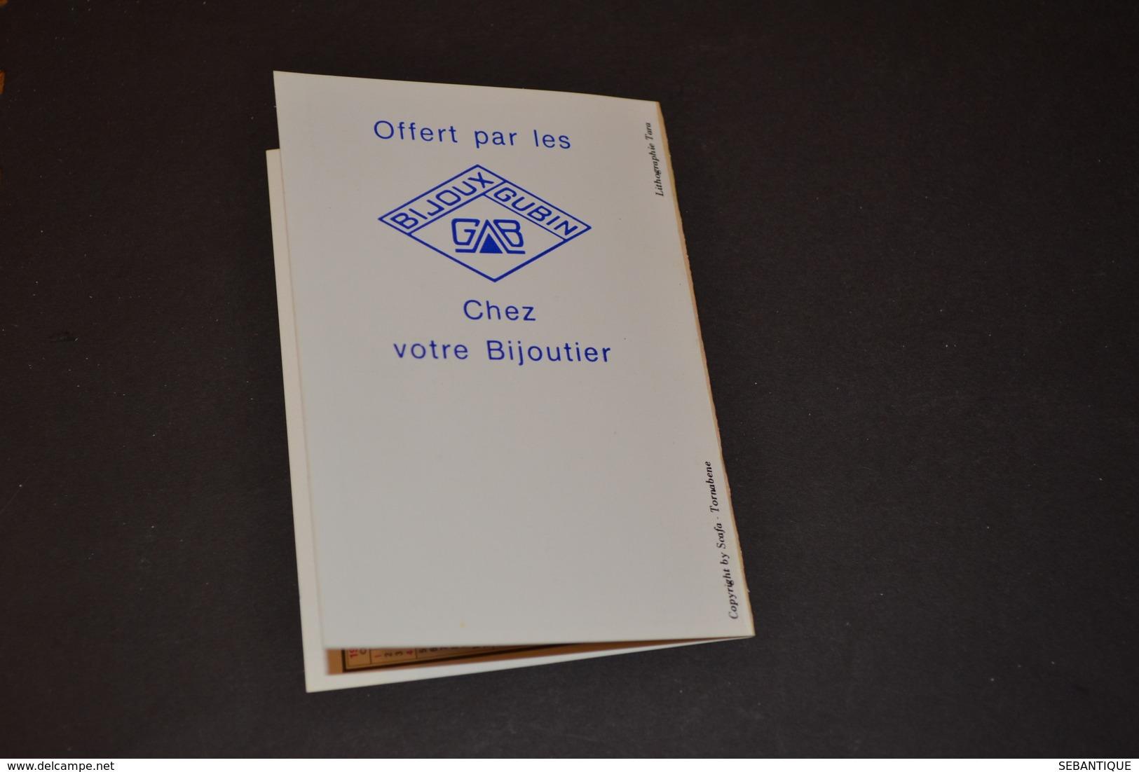 Mini Calendrier 1981 Dessin De TARA Femme Aux Colombes Bijoux GUBIN - Calendriers