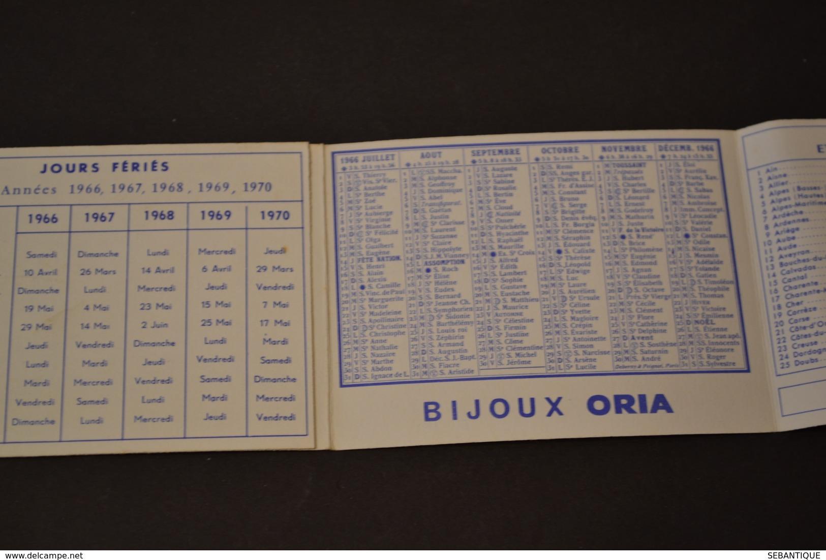 Mini Calendrier 1966 Bijoux ORIA - Calendriers