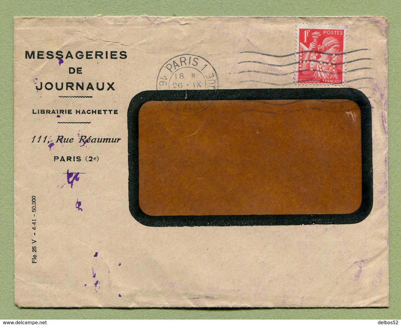 """PERFORE  """" L. H. """"  Pour LIBRAIRIE HACHETTE  (1941) - Perforés"""