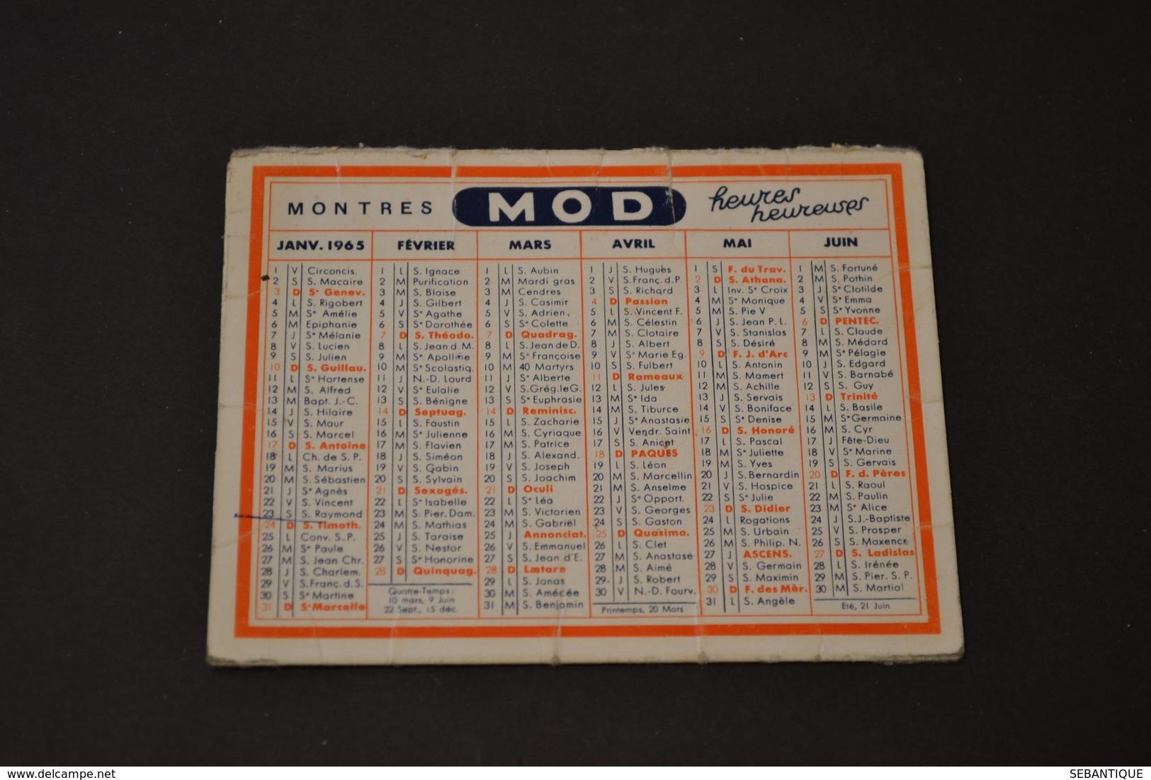 Mini Calendrier 1965 Montres MOD Panneau De Circulation - Calendriers