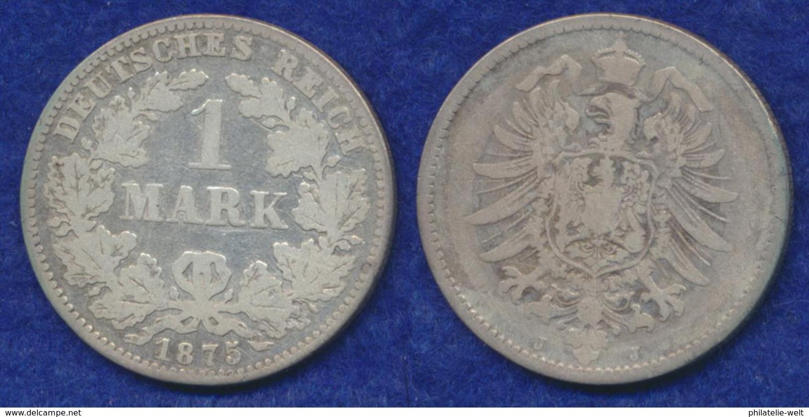 Deutsches Reich 1 Mark 1875J Kleiner Reichsadler Ag900 - [ 2] 1871-1918: Deutsches Kaiserreich