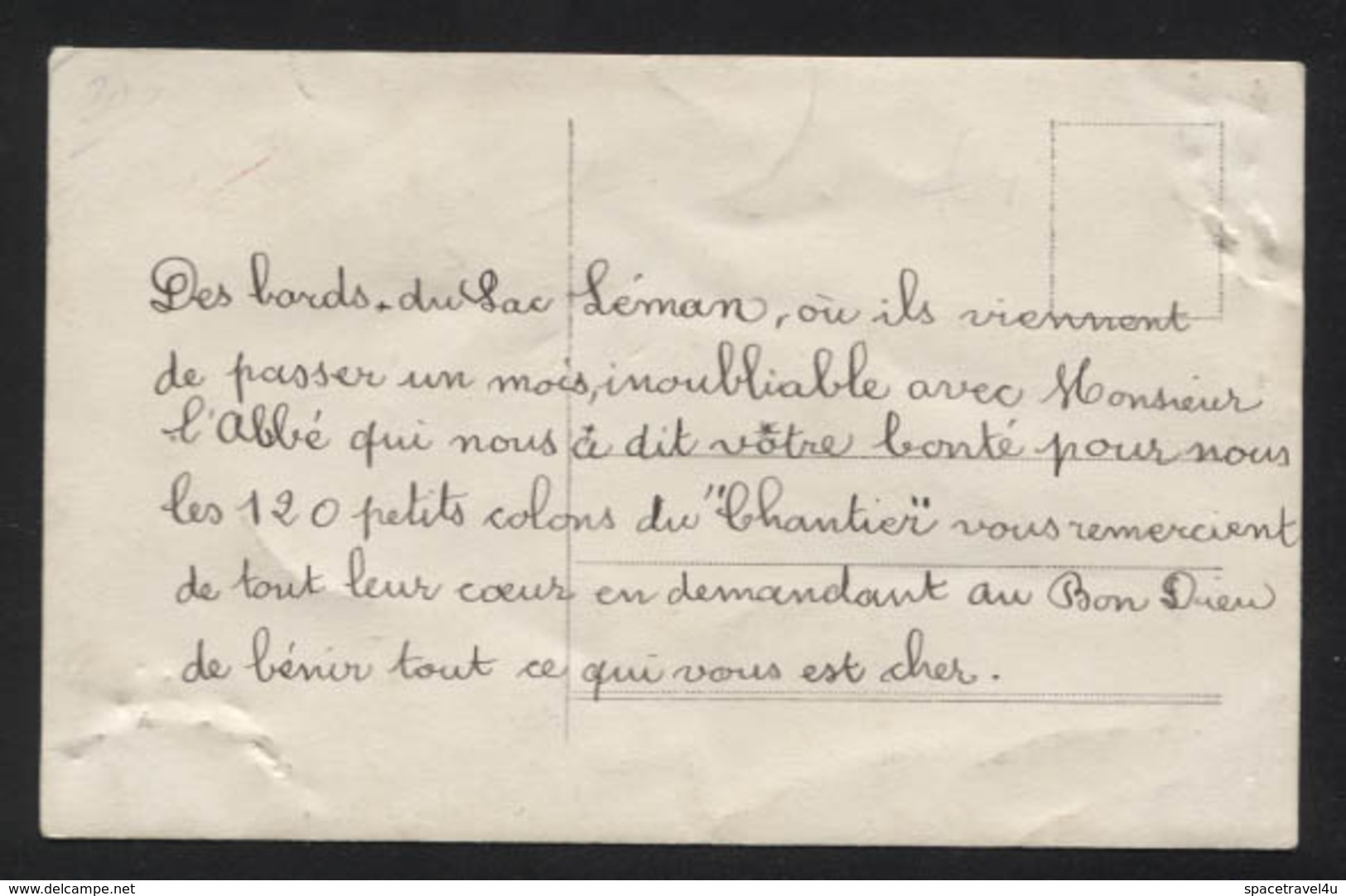 SWITZERLAND - Geneva -  La Colonie De Vacances Du Chantier Lac Léman , 1912. - Vintage Photo Postcard (APAT2-255) - GE Geneva