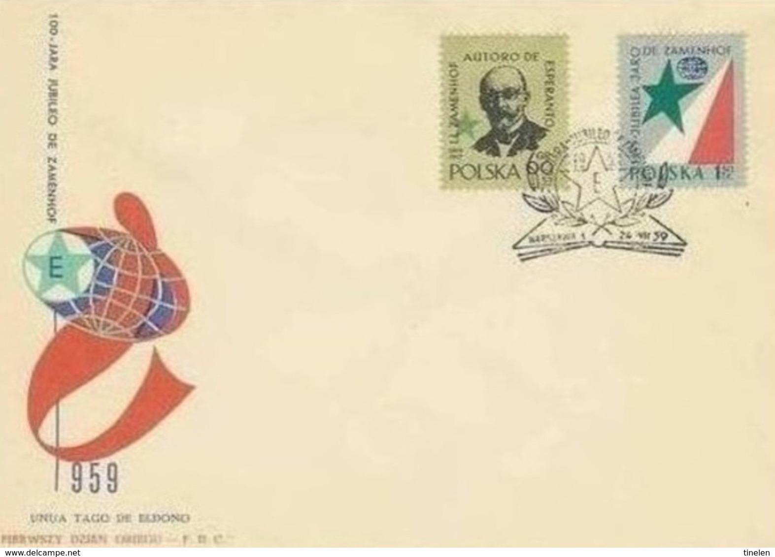 POLONIA - 24 7 1959  FDC ESPERANTO - Esperanto