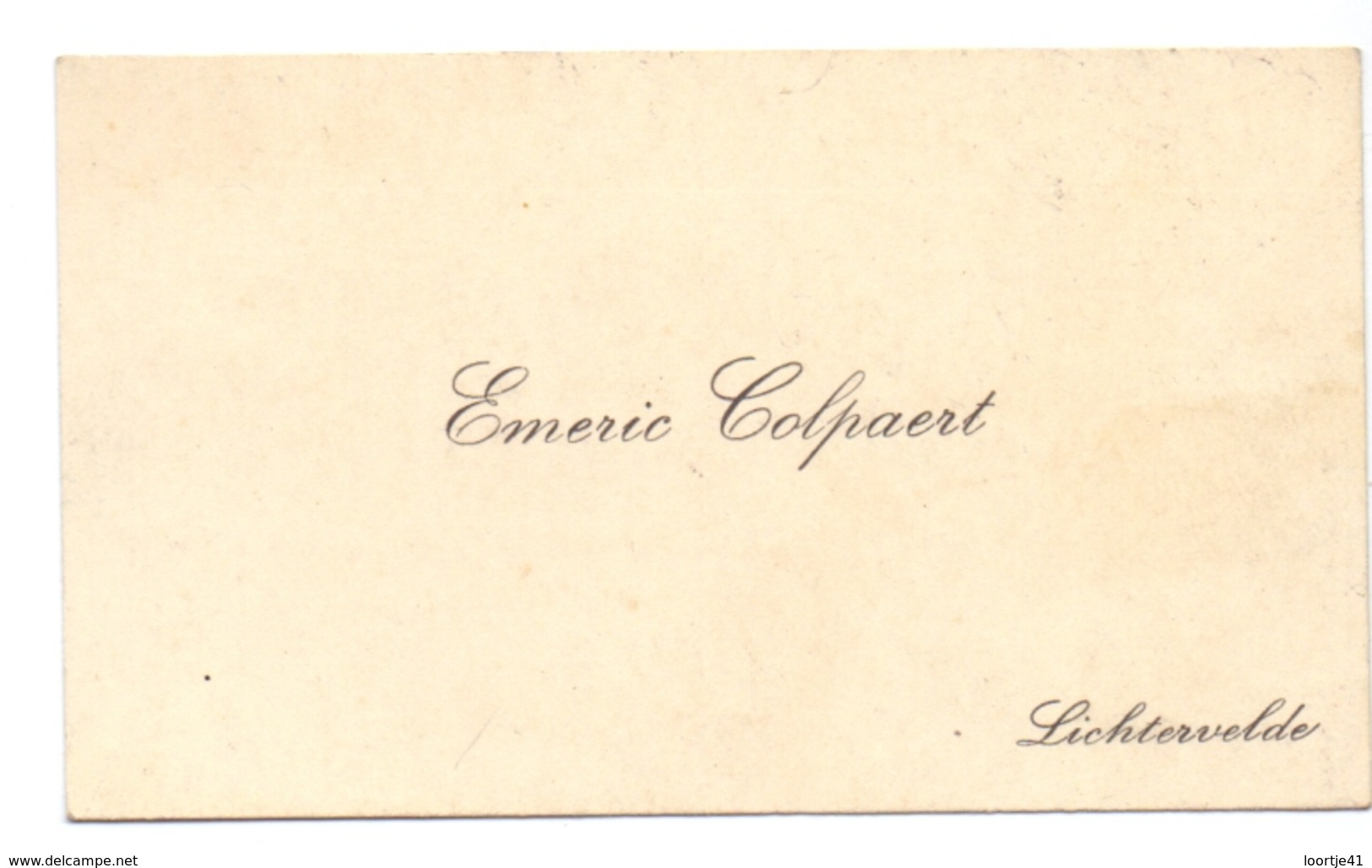 Visitekaartje - Carte Visite - Emeric Colpaert - Lichtervelde - Cartes De Visite