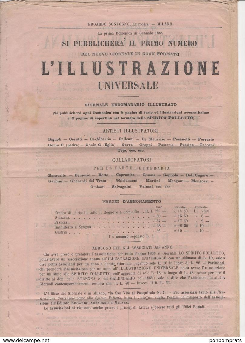 Journal MUSEO DI FAMIGLIA De MILANO1863 Avec 1 Cmi X5 +10C Oblt  CàD De MILANO - Marcophilie