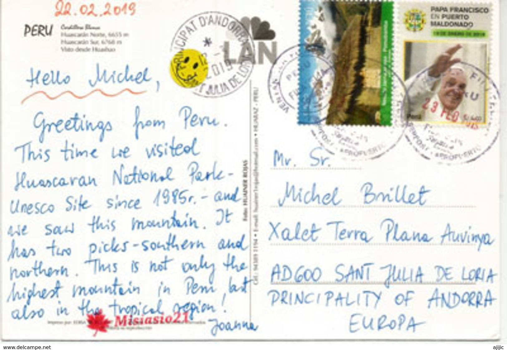 Huascarán Sur & Norte 6,768 Metres.The Highest Mountain Peaks In Peru., Postcard With Stamp Pomabamba (mountain) - Alpinisme
