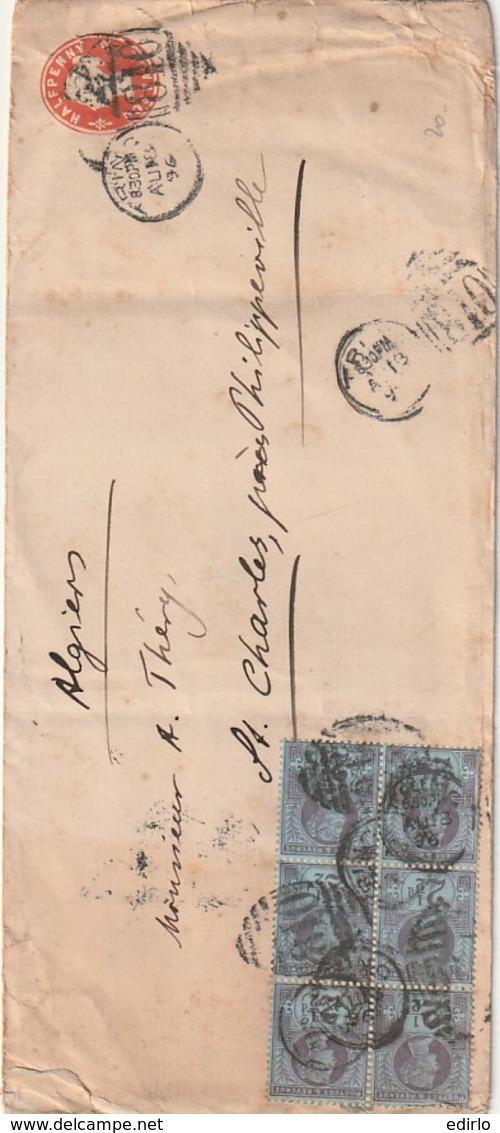 ///   GRANDE BRETAGNE - Angleterre Courrier Pour L'Algérie - Par Marseille -entier Postal Supplémenté Bloc De 6 N°95 - - 1840-1901 (Victoria)