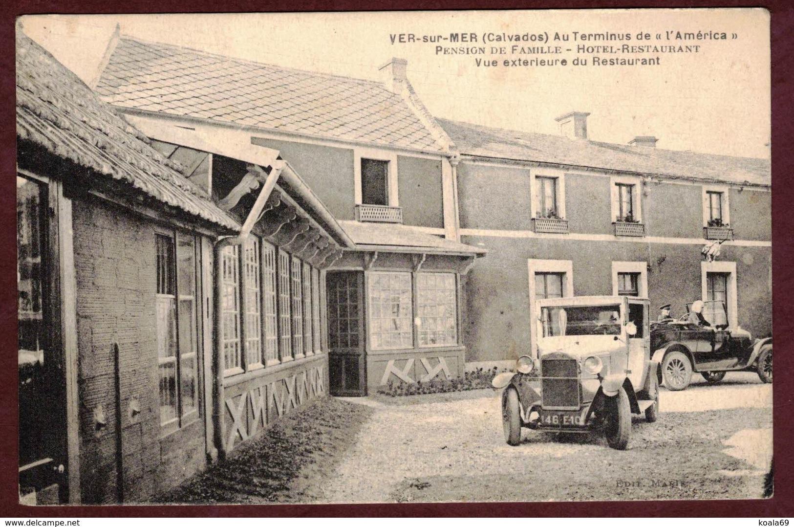"""Ver-sur-Mer Hôtel Restaurant """" Au Terminus De L' América """" Automobile Ancienne Calvados Ver Sur Mer Pension De Famille - France"""