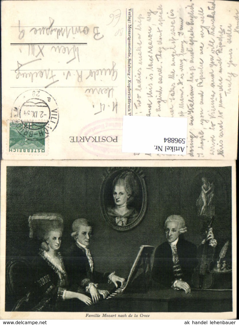596884,Künstler Ak Familie Mozart Klavier Geige Komponist Musik Bahnpost Zug 29 Villa - Schriftsteller