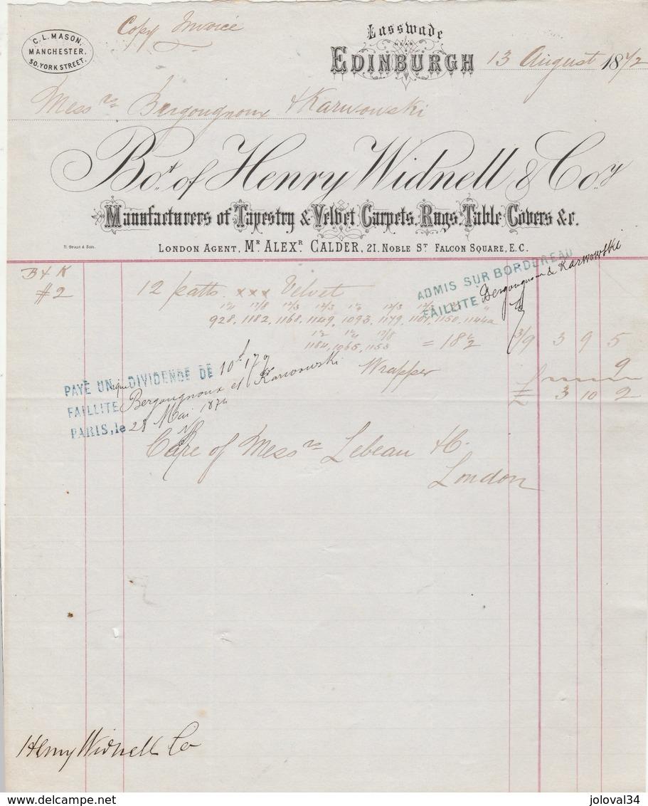 Royaume Uni Facture 13/8/1877 HENRY WIDNELL Tapestry & Velbet Carpets  EDINBURGH - Royaume-Uni
