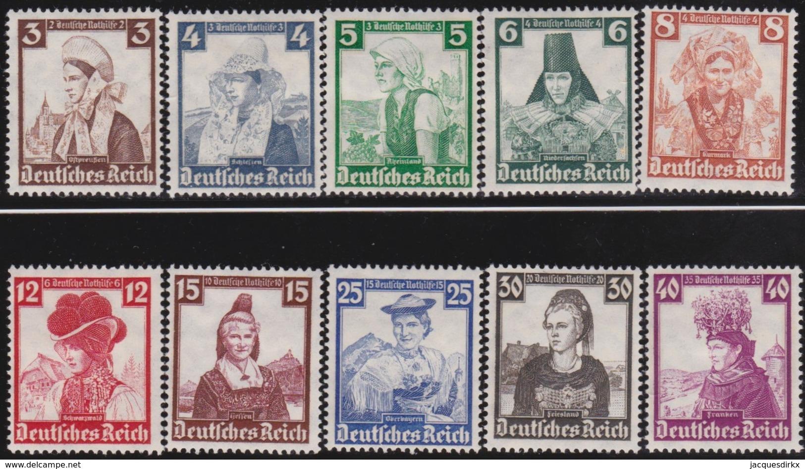 Deutsches Reich  .   Michel .  588/597  .  * . Ungebraucht Mit Gummi Und Falz . / . Mint-hinged - Deutschland
