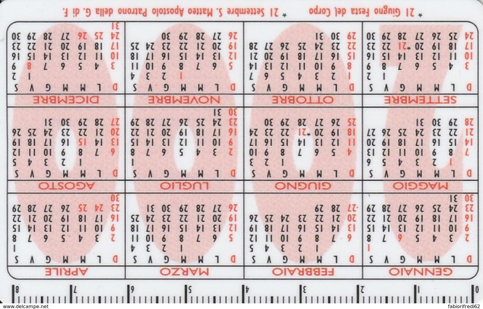 CALENDARIETTO FORMATO SCHEDA PLASTICA RIGIDA 2000  (E43.35.7 - Calendari