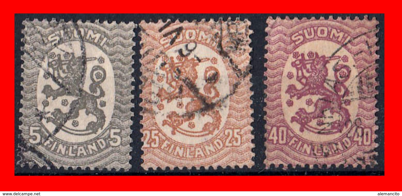 FINLANDIA (EUROPA) 3 SELLOS AÑO 1917-25 ESCUDO NACIONAL. EMISIÓN DE HELSINKI. - Finland