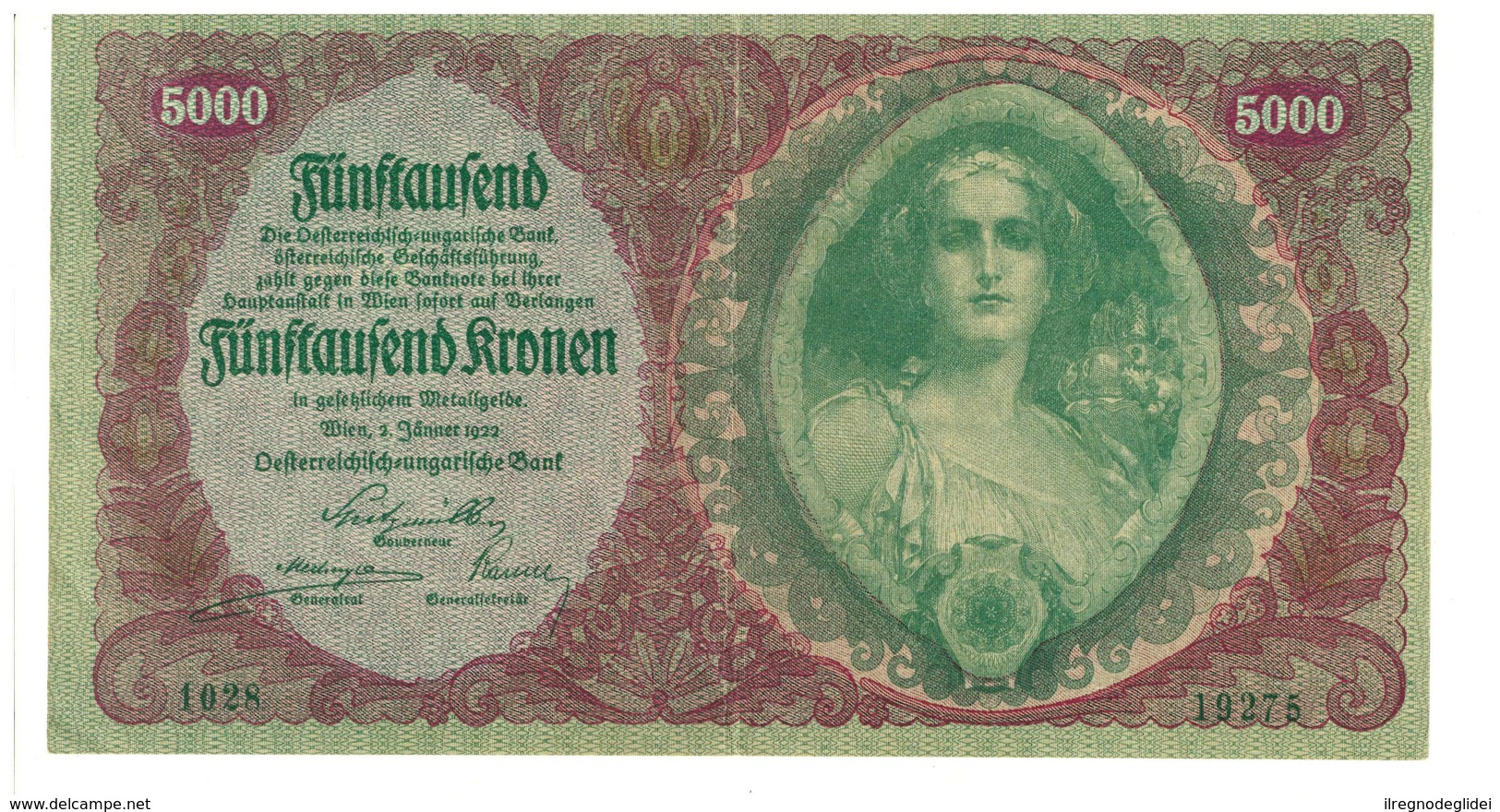 IMPERO AUSTRO UNGARICO - ANNO 1922 - 5000 KRONEN - QUALITA' B - SERIALE 1028 - 19275 - WYSIWYG - Austria