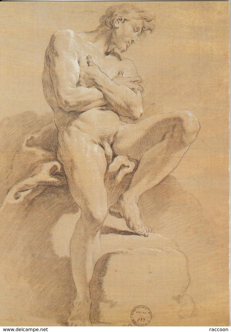 BOUCHER: Homme Assis Bras Croisés [ Nu Homme CPM ] ER045 - Tableaux