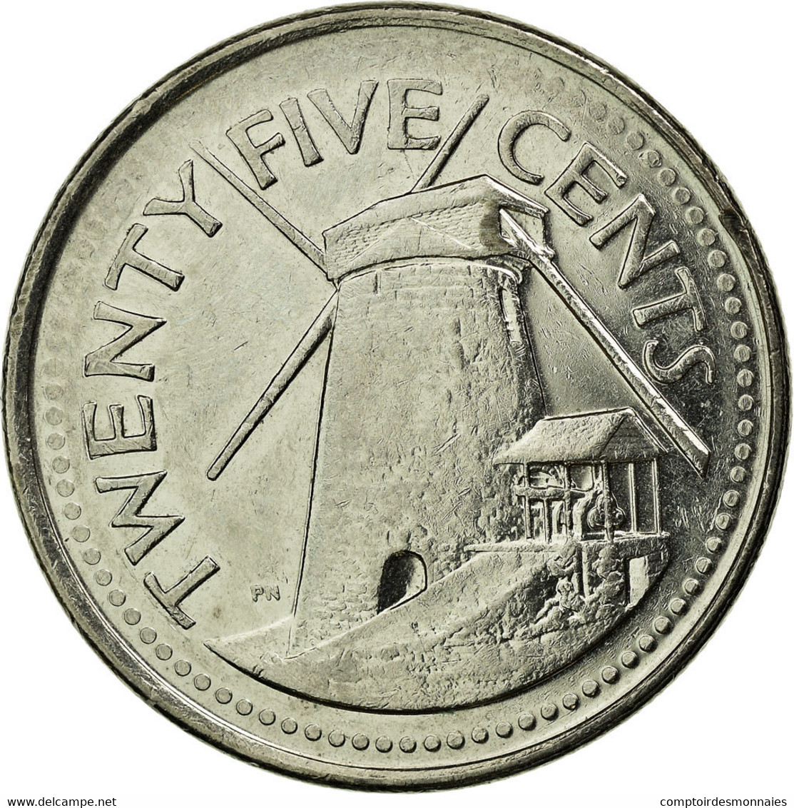 Monnaie, Barbados, 25 Cents, 2008, Franklin Mint, TTB, Nickel Plated Steel - Barbades