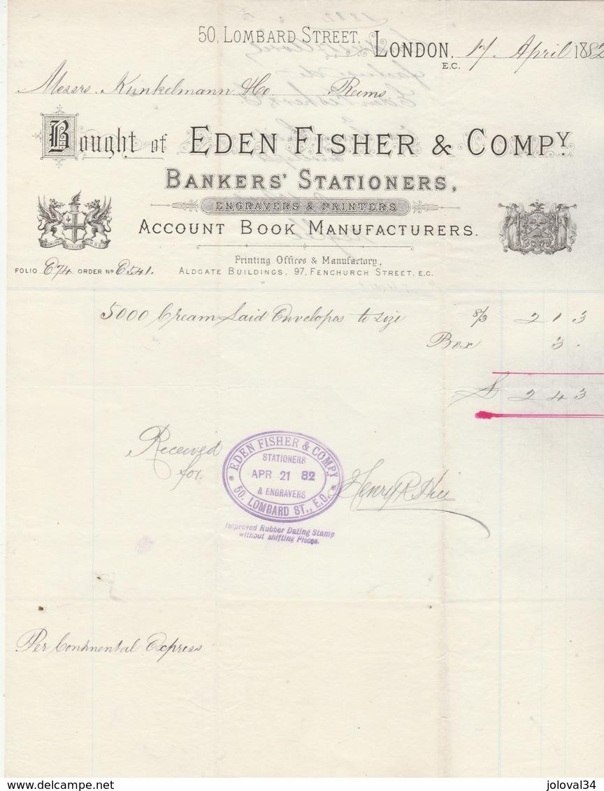 Royaume Uni Facture Illustrée 17/4/1882 EDEN FISHER Engravers & Printers LONDON - Royaume-Uni