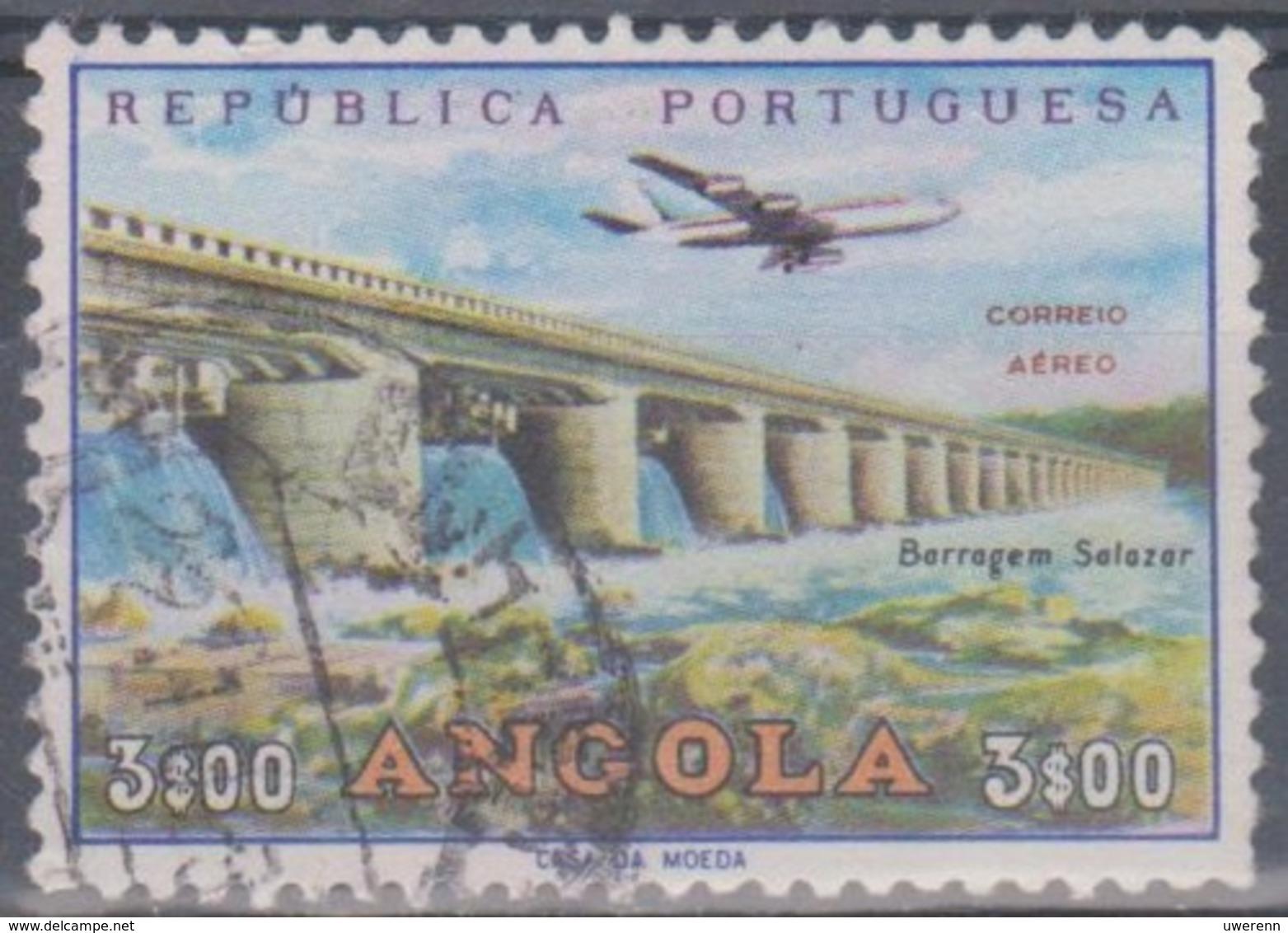 Angola 1965 Flugpostausgabe: Flugzeug über Bauten. Mi 516 3,00 E. Gestempelt - Angola
