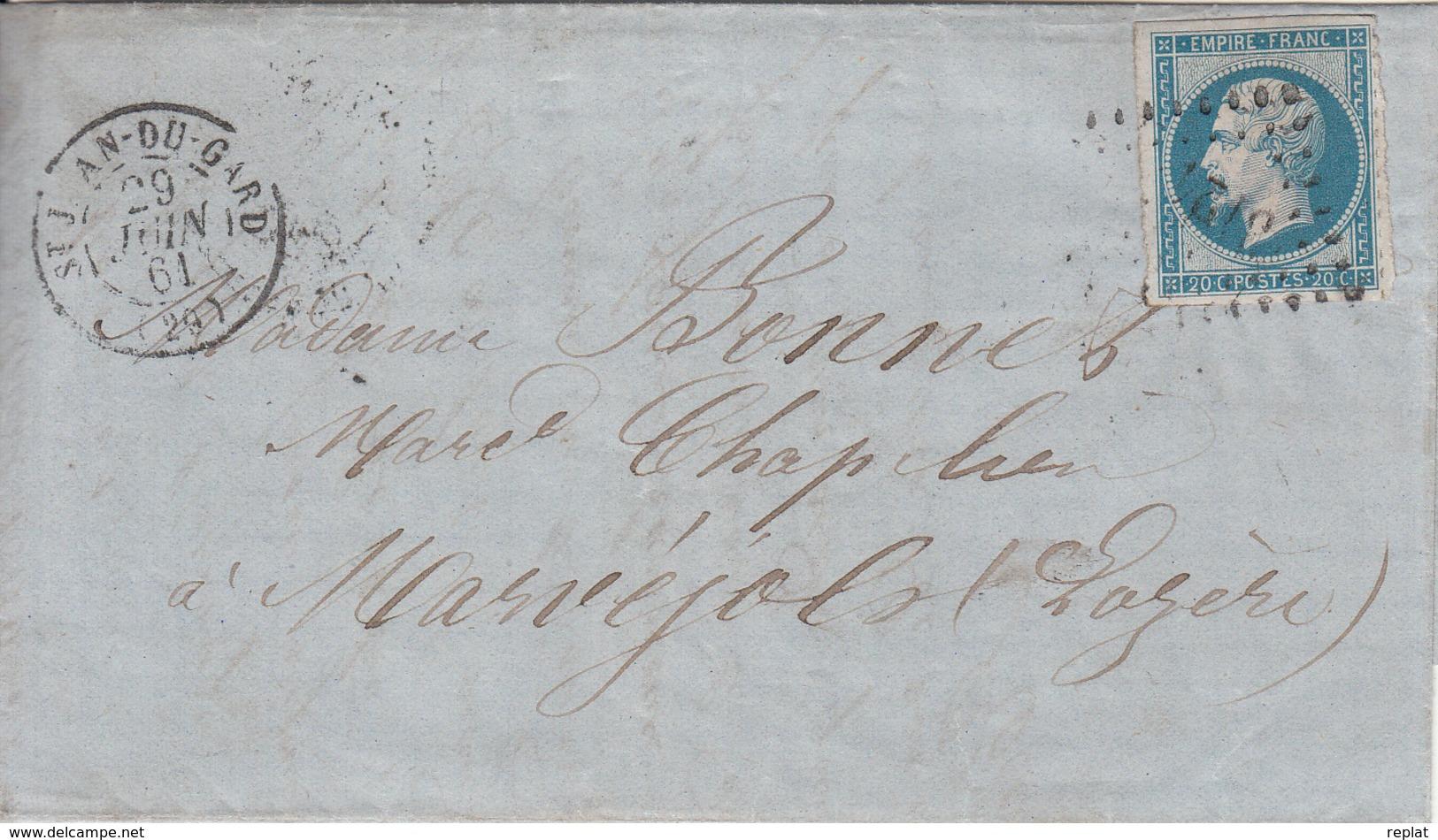 MARQUE POSTALE LAC  29 ST JEAN DU GARD A MARVEJOLS   PC 3124 S/14  29 JUIN 1861 - Marcophilie (Lettres)