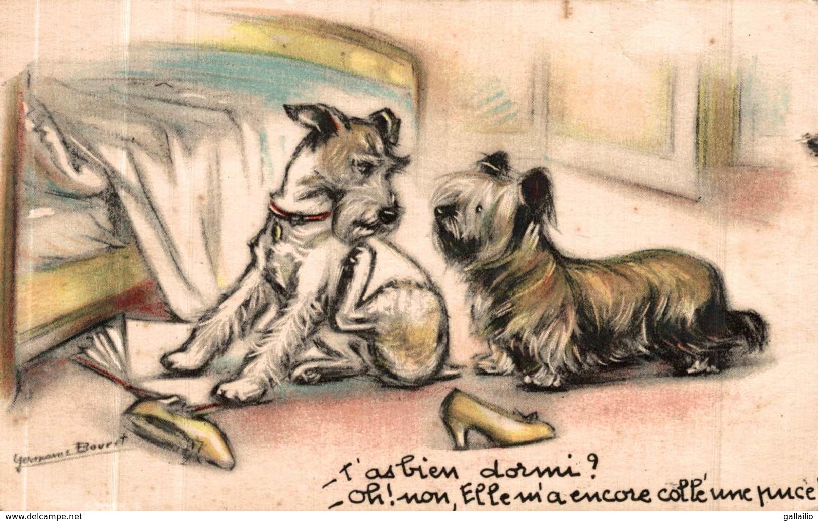 ILLUSTRATION SIGNEE GERMAINE BOURET LES CHIENS - Bouret, Germaine